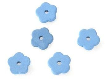 15% OFF Light Blue Flower Beads, Ceramic Flower Beads 5 pcs - C 10 255