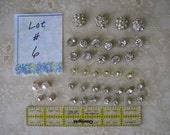 Lot #6 BUTTONS VINTAGE jewelry type assortment for doll sewing, sweaters, ladies, rhinestone