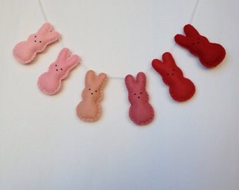 Ombre bunny garland in springy pinks with peach and strawberry, easter decor, nursery decor, girls nursery