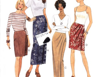 "Front Wrap Skirt in Two lengths Mock Size 8-10-12 Waist 24-26.5 Hip 33.5-36"" McCall's 9416 Womens Sewing Pattern"