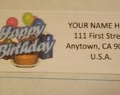 Happy Birthday With Balloons Return Address Label