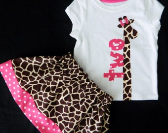 2 piece outfit -  Baby girl, toddler onesie shirt lanky giraffe, pink birthday number applique, giraffe skirt  NB - 16