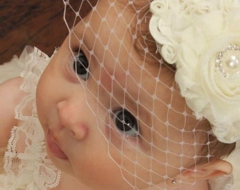 Baby Baptism Headband .. Birdcage Veil .. Vintage Christening Headband .. Shabby Chic White Ivory Pink Aqua