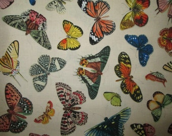Realistic Butterfly Nature Butterflies Cream Cotton Fabric Fat Quarter or Custom Listing
