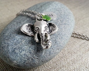 Initial Necklace, Silver Elephant Necklace, Elephant Pendant, Silver Elephant Head Charm, Animal Lover Necklace, Africa, Gifts Under 20