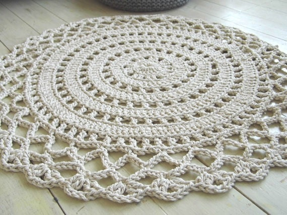 Crochet Rope Giant Doily Rug 100% Cotton