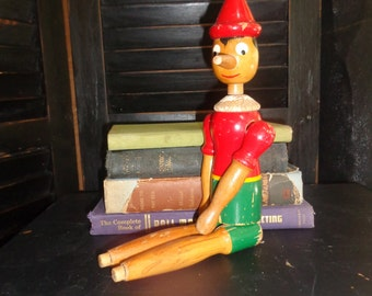Vintage Pinnocchio Wooden Doll with movable head and limbs
