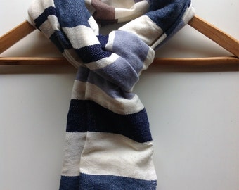 Scarves & wraps- Mens Man scarf- Navy Blue Gray Taupe Wool Scarf- Cotton and Wool mix scarf- Blue Gray Navy Woven Scarves- stole for him