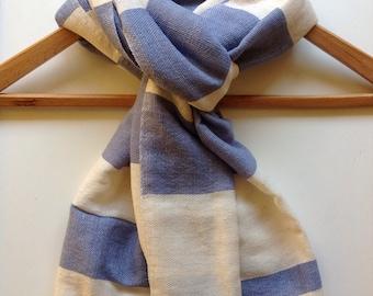 Cotton Wool Scarf- Baby Blue, Steel Blue, light Blue, Men Women Stripe Scarf in Sand Blue & white Stripe- Handwoven Ethiopian scarf
