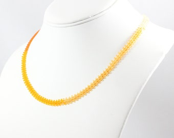 Beaded Necklace - Daisy Chain Necklace - Beadwork Jewelry - Seed Bead Jewelry - Orange Ombre Necklace - Orange Necklace
