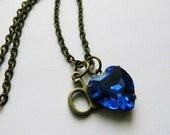 Personalized Necklace Sapphire Blue Necklace Initial Charm Necklace September Birthstone Necklace Swarovski Heart Necklace