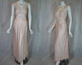 1940s Pink Nightgown, Rayon Satin, 36, Medium, Artemis bias cut Gown