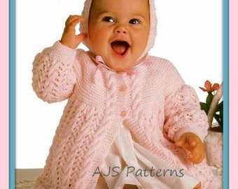 PDF Knitting Pattern for Baby Matinee Coat and Bonnet Set - Instant Download