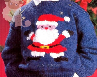 PDF Knitting Pattern for a Childs Santa Claus or Father Christmas Sweater - Instant Download
