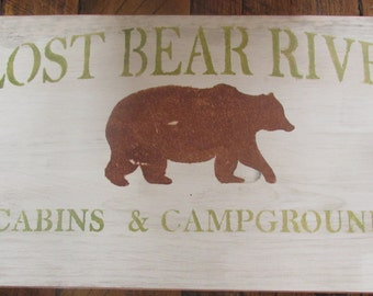 Primitive Rustic Lodge Wooden Sign