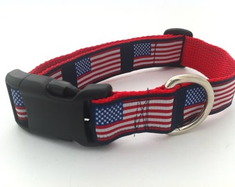 American Flag Adjustable Dog Collar