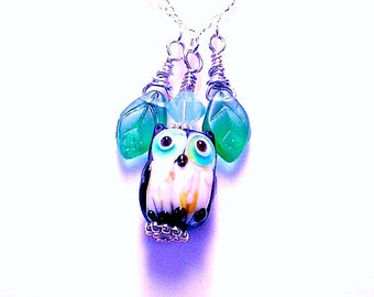 Lampwork Glass Owl Necklace, Owl Pendant, Owl Jewelry, Blue Owl Necklace, Ceramic Owl Necklace, 3 color choices