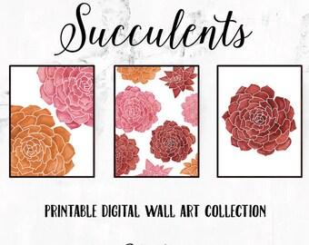 Succulent Wall Art, Printable Wall Art Set, Digital Download, Succulent Decor, Succulent Art, Wall Art Printable, Succulents