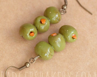 Martini Olive Earrings - green skewered olives - cute and quirky food jewelry