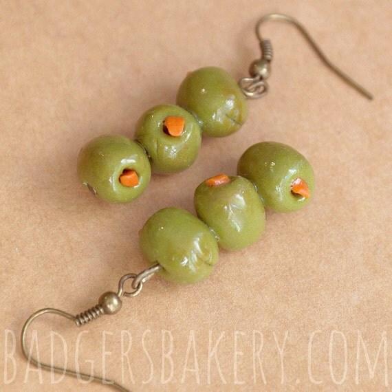 Martini Brincos - azeitonas verdes - espetinhos bonito e subtil de jóias de alimentos