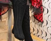 Black knee socks, new pattern