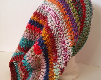 Cowl, Colorful Round Scarf, Neck Warmer, Crocheted Cowl