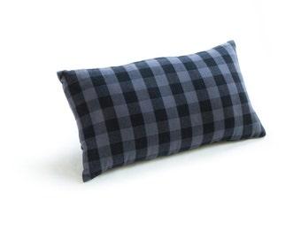 "Buffalo Check Plaid Slate Grey 12""x21"" Lumbar Pillow"