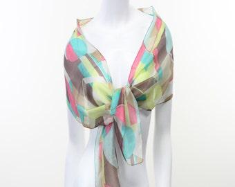 Silk- Chiffon- Sheer- Abstract- Olive- Peach- Neon yellow- Taupe- Mondrian- Kandinsky- Modern- Cubism- Art- Summer- Scarf