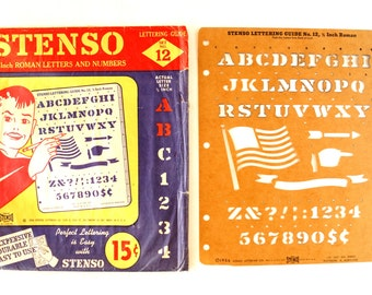 "Vintage STENSO Stencil Set No.12 in Original Package (c.1956) - 1/2"" Roman Letters and Numbers, Collectible Stencil, Sign Lettering Guide"