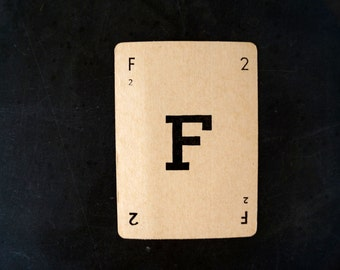 "Vintage Alphabet Card Letter ""F"" Black and White, 3-1/2 inches tall (c.1937) - Wedding Table Letter, DIY Garland Cards"