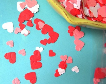 Paper heart confetti - 250+ hearts in red, white, and pink- wedding confetti - party confetti - table scatter - showers - birthday parties