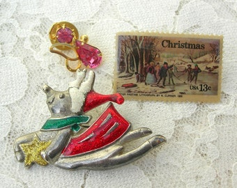 3 Holiday Pins - flying reindeer, cute gold & pink angel, Currier 1855 stamp, great stocking stuffers