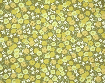 Retro Wallpaper by the Yard 60s Vintage Wallpaper - 1960s Green and Yellow Mini Floral Chartreuse and Olive Green