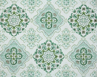 Retro Wallpaper by the Yard 60s Vintage Wallpaper - 1960s Green and White Geometric