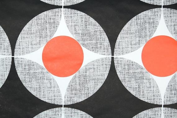 Retro Tapete Orange Braun : Retro-Tapete – 70er Jahre Vintage Tapete – schwarz wei? grau Orange