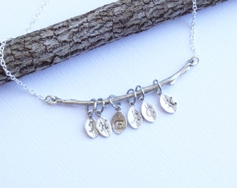 Rustic Branch With Family Leaf Initials Necklace... Mothers Grandmothers