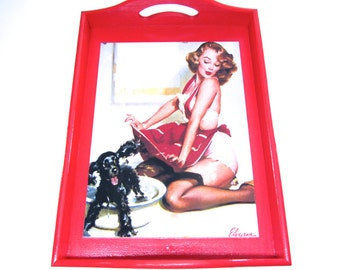 "Red ""Dog Wash"" Pin-Up Girl Wooden Tray -- Gil Elvgren Pin-Up Calendar Girl -- Decorative High Gloss Serving Tray"