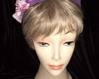 Woman's Hat, Woman's Fascinator, Purple Fascinator, Retro Fascinator, Velvet Fascinator, Half Hat, Violet Velvet  Flowers