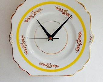 Art Deco Yellow and Gold, Vintage China Plate Large Wall Clock