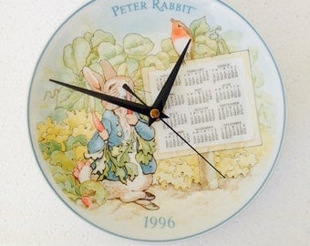 Peter Rabbit - Wall Clock Plate year Calender 1996 - Wedgwood - Collectable Beatrix Potter - Decoration - Birth