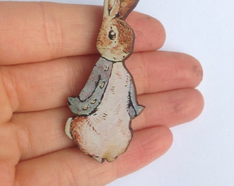 Peter Rabbit Beatrix Potter Wooden Brooch Pin Gift Laser Cut Party Badges