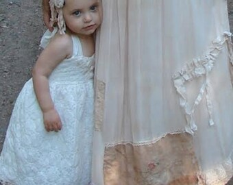 MADE TO ORDER rustic shabby gauzey women barn prairie mocha boho fairy magic wedding bride  gypsy vintage lace crochet maxi sundress