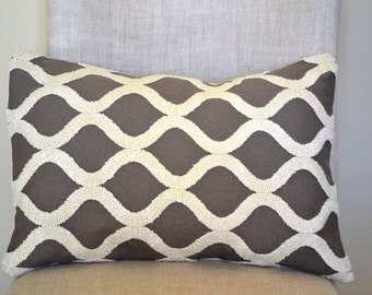 Decorative Throw Pillow, 14 by 20 in Haviland Gray Embroidered Fabric  (Cover only)
