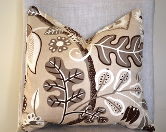 Decorative Throw Pillow 18 by 18 inch, floral pillow deigns in natural, brown taupe, pillow cover great gift