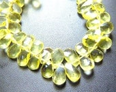 31 Pc Top Quality Gorgeous Lemon Quartz Faceted Briolette Pear Drops Size 7X9MM Wholesale price