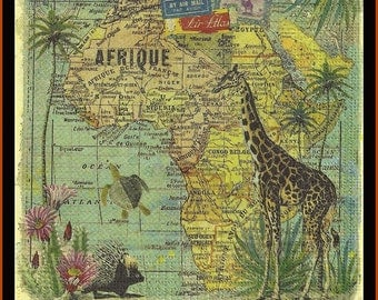 4 Africa Map Paper Decoupage Napkins -  Use For Crafts, Mixed Media, Scrapbooking, Collage And Altered Art Projects