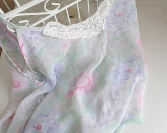 Sheer water colour print camisole  -  size medium to large