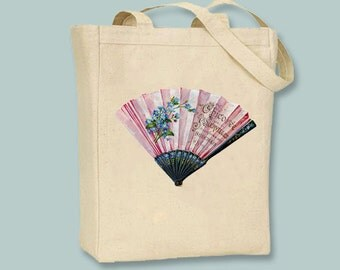 Vintage Pink French Folding Fan Image on Natural or Black Canvas Tote -- Selection of  sizes available