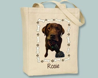 YOUR DOG Personalized Pet tote with Dog Bone Frame - Selection of sizes available