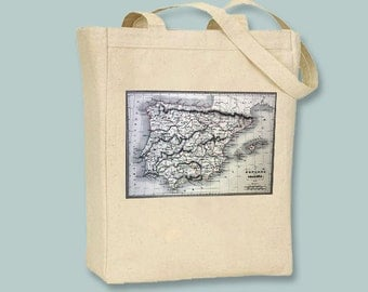 Vintage Map of Spain Image on Natural or Black Canvas Tote with Shoulder Strap - Selection of sizes available